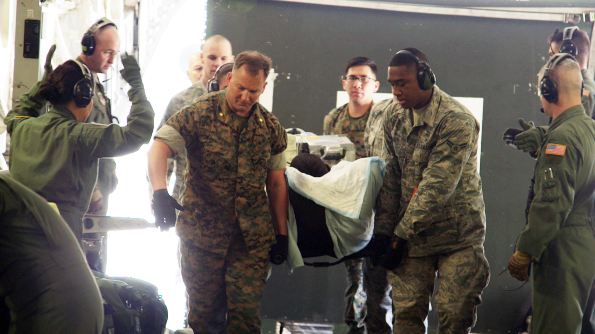Military medical team at Ramstein Air Base in Germany