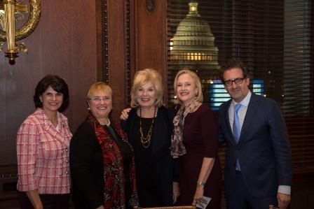 "Rep. Lucille Roybal-Allard, left, chef Lidia Bastianich, CPB President and CEO Pat Harrison, PBS President and CEO Paula Kerger and John Maggio, consulting producer of the ""Holidays for Heroes"" special."